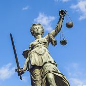 Justitia (lady Justice) Sculpture On The Roemerberg Square In Frankfurt