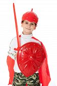 picture of valiant  - Young Boy Dressed Like a knight holding a sword and shield isolated on white - JPG