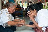 Nongkhai, Thailand - October 08 : Bind The Holy Thread In Thai Rite On Oct 08, 2014 In Nongkhai Prov