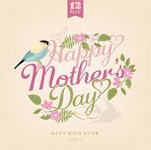 Happy Mothers Day, Greeting Card With Spring Flowers And Bird