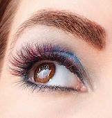Portrait Of Colored Eyelash Extensions