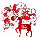 Greeting card with reindeer