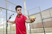 Paddle Tennis Player Ready For Serve Ball