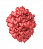 Red 3D Valentine Hearts
