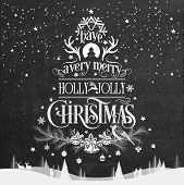Merry Christmas And Happy New Year, Hand Drawn Vintage Typographical Background On Blackboard