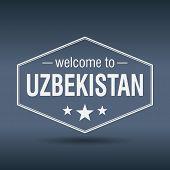 Welcome To Uzbekistan Hexagonal White Vintage Label