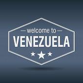 Welcome To Venezuela Hexagonal White Vintage Label