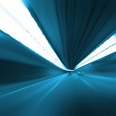 Abstract image of speed motion on the road  in the tunnel at night.