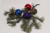 Christmas Toys With A Sprig Of Fir Tree