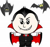 picture of vampire bat  - little child with vampire costume and bats isolated on white background - JPG