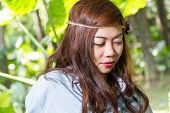 image of filipina  - Pinoy woman in a green garden on farm - JPG