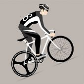 pic of bicycle gear  - Cyclists and fixed gear bicycle Vector and Illustration - JPG