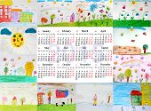Calendar For 2015 Year With Children's Drawings