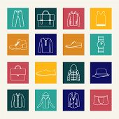 Set Of Flat Man Clothing Icons