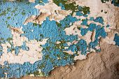 Old Wall With Rich Texture Of The Cracked Blue And Green Paint
