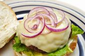 Juicy Cheese Burger With Sliced Red Onion