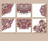 collection of decorative floral greeting cards in vintage style