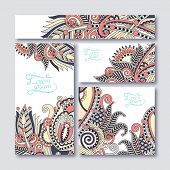 collection of decorative floral greeting cards in vintage style,