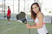 Woman Ready For Paddle Tennis Serve