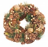 christmas wreath with cones