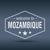 Welcome To Mozambique Hexagonal White Vintage Label