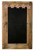 foto of wooden pallet  - Chalkboard christmas restaurant menu board reclaimed pallet wooden frame and shabby chic gingham stars isolated on white with copy space - JPG