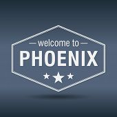 Welcome To Phoenix Hexagonal White Vintage Label