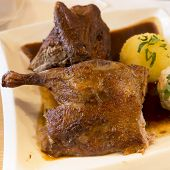 Roasted duck with dumplings and gravy