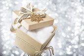 Open Christmas Gift Box With Cotton Wool, Ribbon And Bow