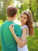 Summer Portrait Young Charming Girl And Boyfriend, Cute Teens Couple In Love