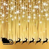 stock photo of sleigh ride  - Santa Claus rides in a sleigh with reindeer on a gold background - JPG