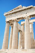 Detail of the columns in the famous Parthenon temple in the Acropolis Athens Greece.