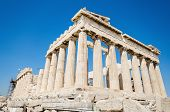 Famous Parthenon temple in the Acropolis Athens Greece.