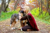 foto of shepherds  - A young woman and her German Shepherd dog have stopped on a walking trail in the woods to look at something and relax on an autumn day - JPG