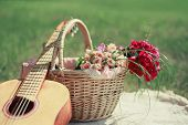 Guitar, Basket And Bouquet Of Flowers. Vintage Tender Background. Romance, Love, Date, Valentine's D