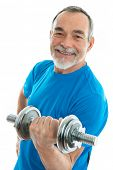 senior man lifting weights during gym workout