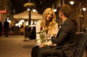 Romantic Date On A Bench