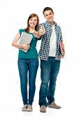 stock photo of stand up  - students standing together and showing thumbs - JPG