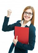 Portrait of excited female job candidate with CV