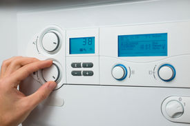 pic of water-saving  - Control panel of the gas boiler  for hot water and heating - JPG
