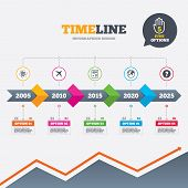 stock photo of qr-code  - Timeline infographic with arrows - JPG