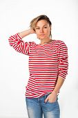 pic of pubic  - Athletic blonde in a red striped sweater - JPG