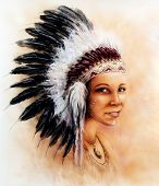 image of headdress  - A beautiful airbrush painting of a young indian woman wearing a gorgeous feather headdress - JPG