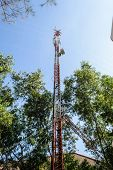 foto of mast  - High mast metal structure telecommunication on tower with blue sky - JPG