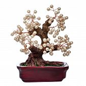 picture of unnatural  - pearl handmade bonsai tree  isolated on white background - JPG