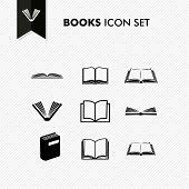 foto of isolator  - Basic books icon set isolated over white - JPG