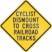 stock photo of railroad-sign  - US warning traffic sign - JPG