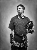 foto of knights  - Medieval knight wearing a chainmail black and white image - JPG