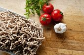 pic of buckwheat  - corkscrew shaped raw pasta called busiate with whole wheat flour of buckwheat typical of Sicily - JPG