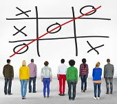 image of tic  - Tic Tac Toe Game Competition XO Win Challenge Concept - JPG